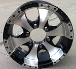 "15"" Aluminum Ion Black Trailer Wheel 6 Hole"