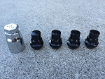 Four 1/2 Black Lug-nut Locks with Key