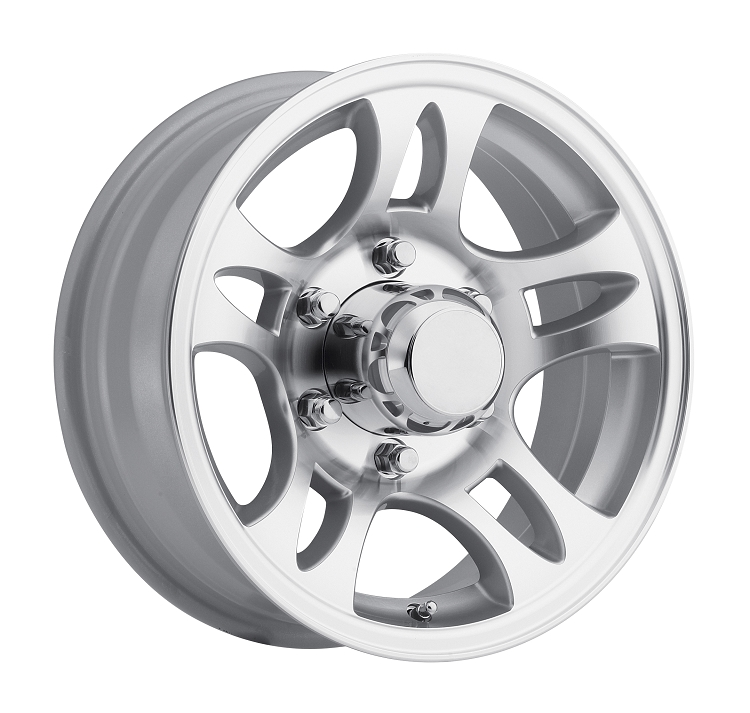 Aluminum Trailer Wheel T06 15x6 15 Rim 6 Lug On 5.5 Inch Silver Machined Spoke