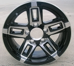 "15"" Aluminum Type T06 Black Trailer Wheel"