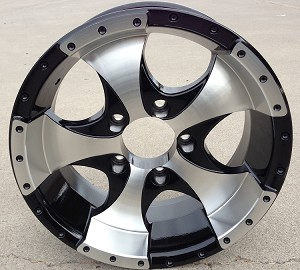"14"" Aluminum Ion Black Trailer Wheel (Center Cap Included)"