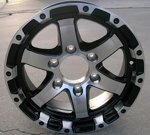 "15"" Aluminum Type T08 Black Trailer Wheel 6 Hole"