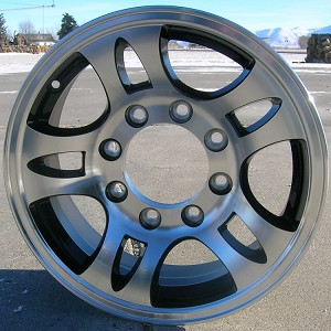 "16"" Aluminum Type T03 Black Trailer Wheel (8 Hole)"