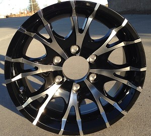 "16"" Aluminum Type T07 Black Trailer Wheel 6 Hole"