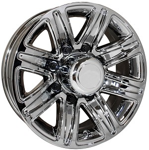 "16"" Chromed Aluminum Type T09 Trailer Wheel 8 Hole"