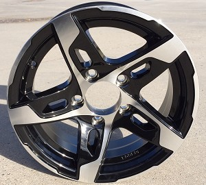 "14"" Aluminum Type T10 Black Trailer Wheel"