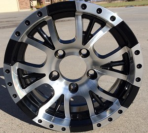 "13"" Aluminum Type T13 Black Trailer Wheel"