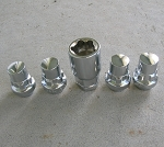 Four 1/2 Chrome Lug-nut Locks with Key